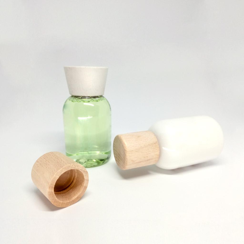 Tappo legno cosmetici filettati